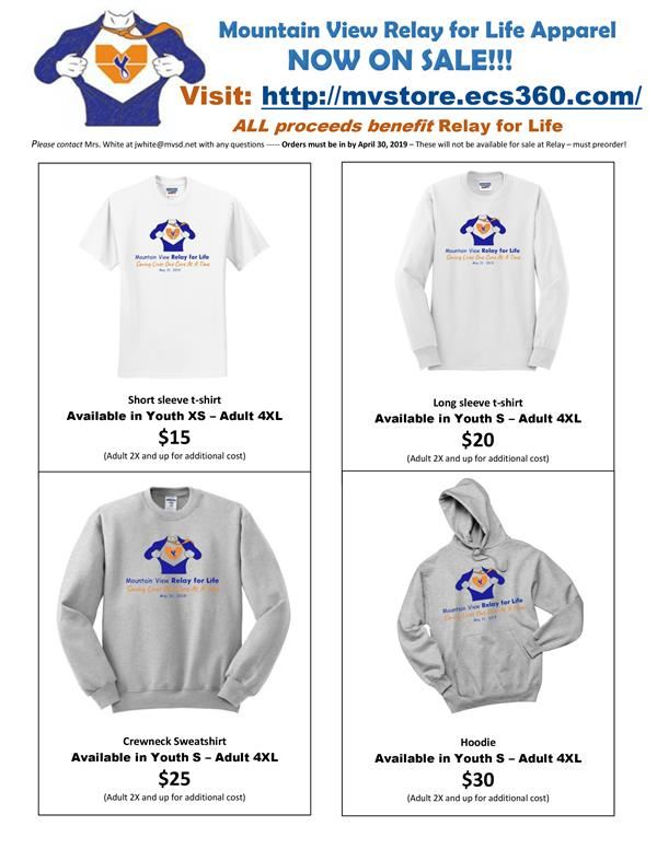 Relay for Life Registration, Apparel Sale and More